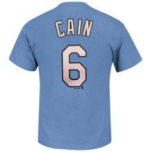 Kansas City Royals Lorenzo Cain MLB Player Name & Number T-Shirt (Coastal Blue)
