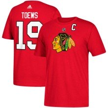 Chicago Blackhawks Jonathan Toews Adidas NHL Silver Player Name & Number T-Shirt
