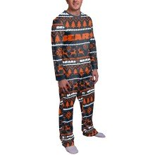 Chicago Bears NFL Men's Holiday Wordmark Ugly 2 Piece Pajama Set