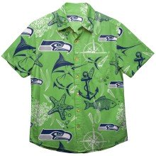 Seattle Seahawks NFL Floral Print Button Up Shirt
