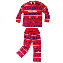 Montreal Canadiens NHL Men's Holiday Wordmark Ugly 2 Piece Pajama Set