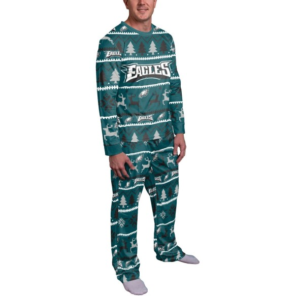 Philadelphia Eagles NFL Men's Holiday Wordmark Ugly 2 Piece Pajama Set