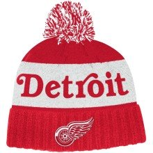 Detroit Red Wings adidas NHL City Name Cuffed Pom Knit Hat