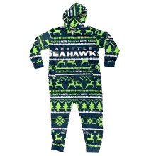 Seattle Seahawks NFL Unisex Holiday Wordmark Onesie Hooded Pajamas