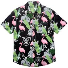 Oakland Raiders NFL Floral Print Button Up Shirt