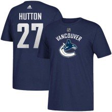 Vancouver Canucks Ben Hutton Adidas NHL Silver Player Name & Number T-Shirt