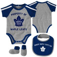 Toronto Maple Leafs NHL Baby Hard At Play 3-pc Creeper-Bib-Bootie Set