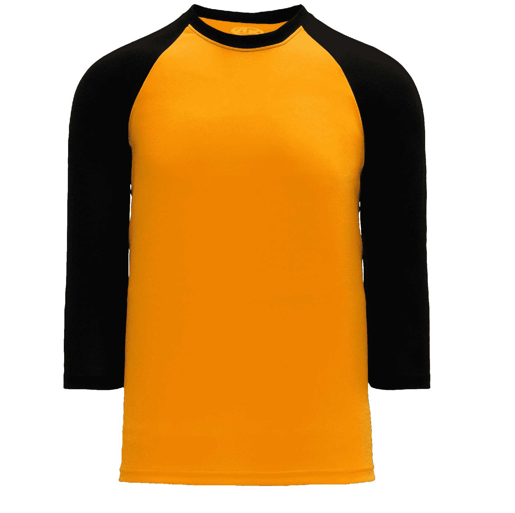 newest a13ef 5b604 Baseball Actiflex Moisture Wicking 3/4 Sleeve Raglan T-Shirt - Gold/Black