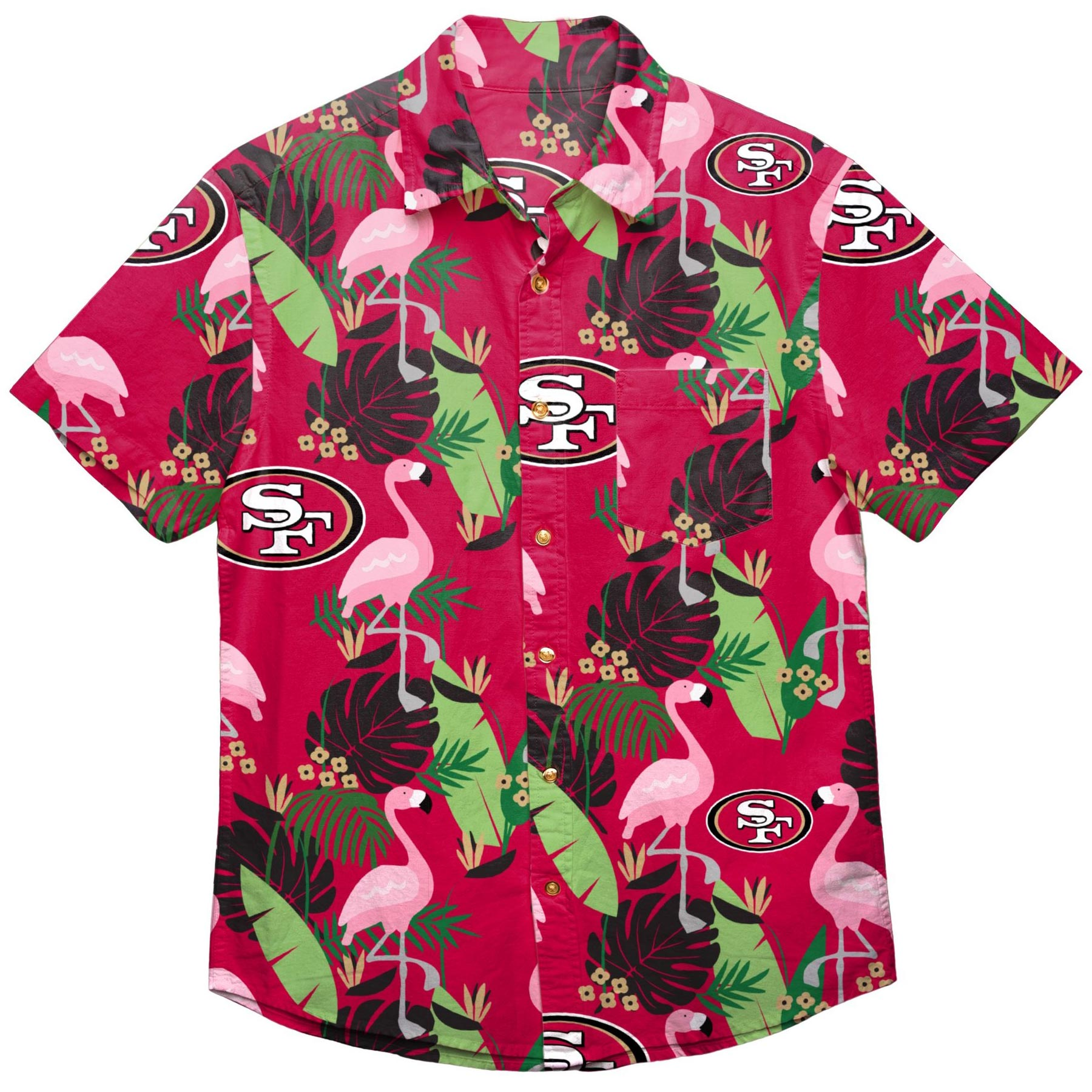 phpfAyV4z San Francisco 49ers NFL Floral Print Button Up Shirt by Forever Collectibles - Size XL - IceJerseys NFL T-Shirts & Tops Teamware / Logo