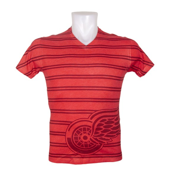 Detroit Red Wings Double Stripe Tri-Blend FX V-Neck T-Shirt