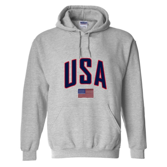 USA MyCountry Pullover Arch Hoody (Sport Gray)