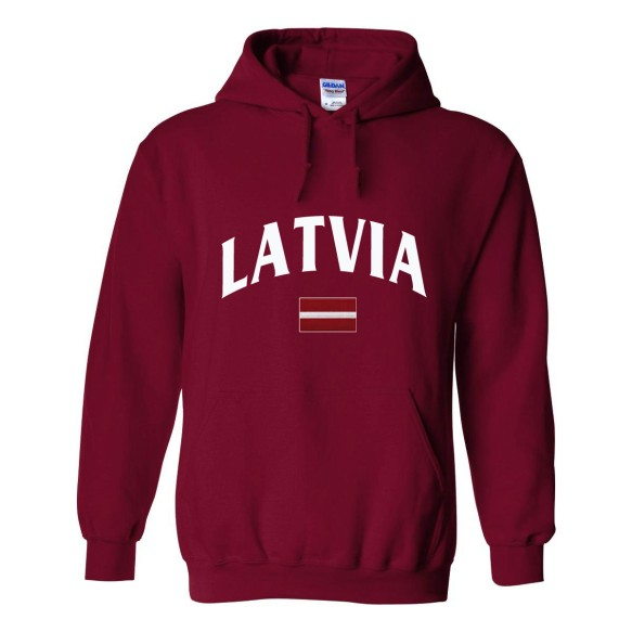 Latvia MyCountry Pullover Arch Hoodie (Maroon)