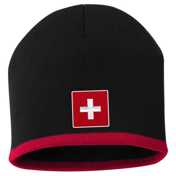 Switzerland MyCountry Striped Knit Hat (Black-Red)