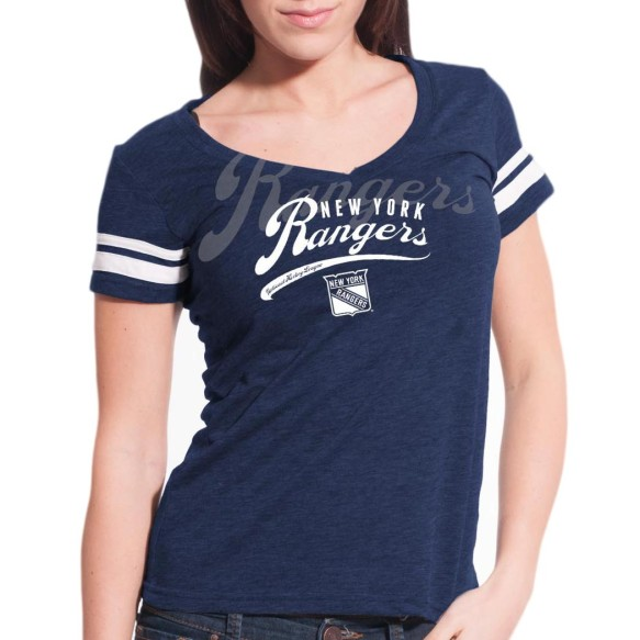 New York Rangers Women's Double Take Script V FX T-Shirt