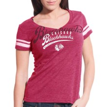 Chicago Blackhawks Women's Double Take Script V FX T-Shirt