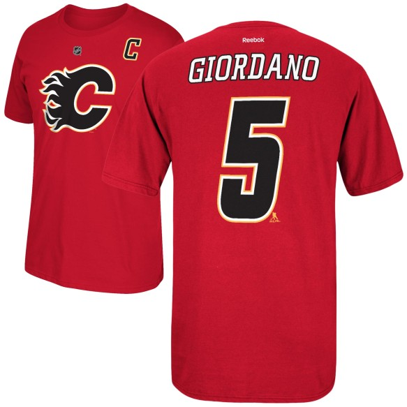 Calgary Flames Mark Giordano Reebok NHL Player Name & Number T-Shirt