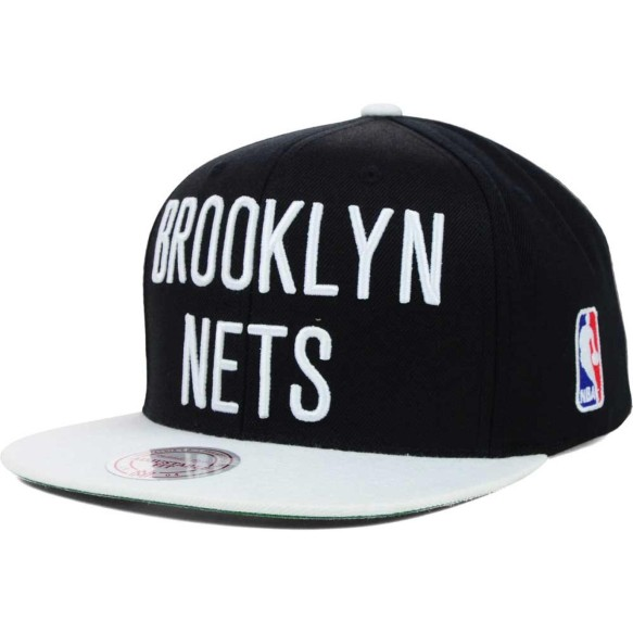 Brooklyn Nets Mitchell & Ness NBA XL Logo 2-Tone Snapback Cap | Adjustable