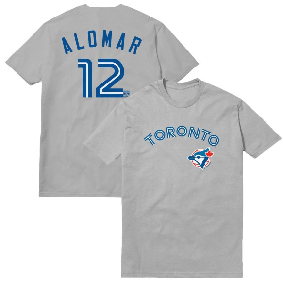 Toronto Blue Jays Roberto Alomar Cooperstown Player Name & Number T-Shirt (Grey)
