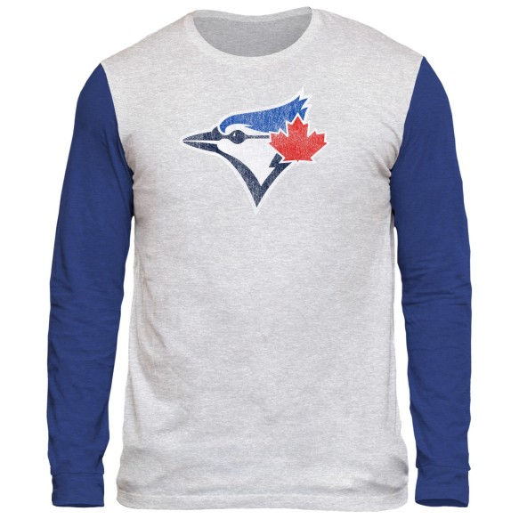Toronto Blue Jays Distressed Logo Tri-Blend Long Sleeve  T-Shirt
