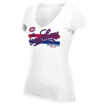 Montreal Canadiens Women's Script Authentic Stripes V-Neck T-Shirt