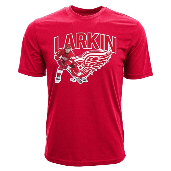 Detroit Red Wings Dylan Larkin NHL Action Pop Applique T-Shirt
