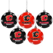 Calgary Flames 5 Pk Shatterproof Ball Ornaments