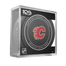 Calgary Flames 2017 Replica Game Puck with Case