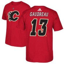 Calgary Flames Johnny Gaudreau Adidas NHL Silver Player Name & Number T-Shirt
