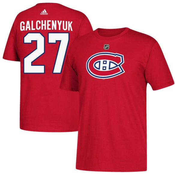 Montreal Canadiens Alex Galchenyuk Adidas NHL Silver Player Name & Number T-Shirt
