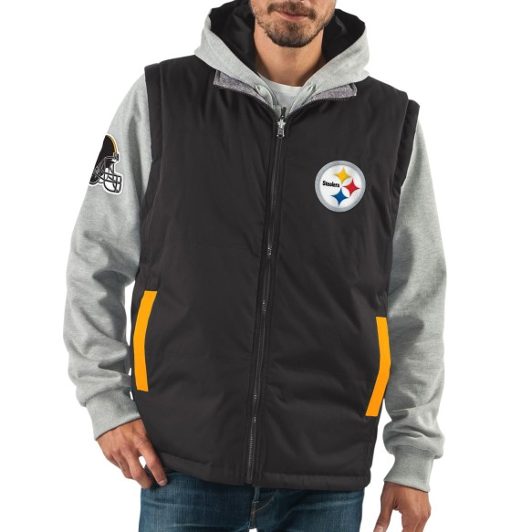 Pittsburgh Steelers NFL 8 Looks In 1 Full Zip Reversible Hooded Vest Jacket