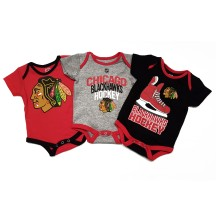 Chicago Blackhawks NHL Baby Hat Trick 3-pc Creeper Set