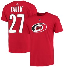 Carolina Hurricanes Justin Faulk Adidas NHL Silver Player Name & Number T-Shirt