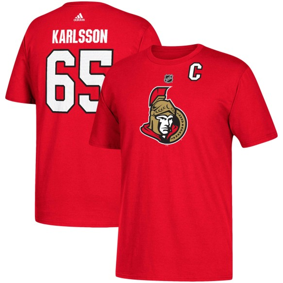 Ottawa Senators Erik Karlsson Adidas NHL Silver Player Name & Number T-Shirt