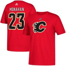 Calgary Flames Sean Monahan Adidas NHL Silver Player Name & Number T-Shirt