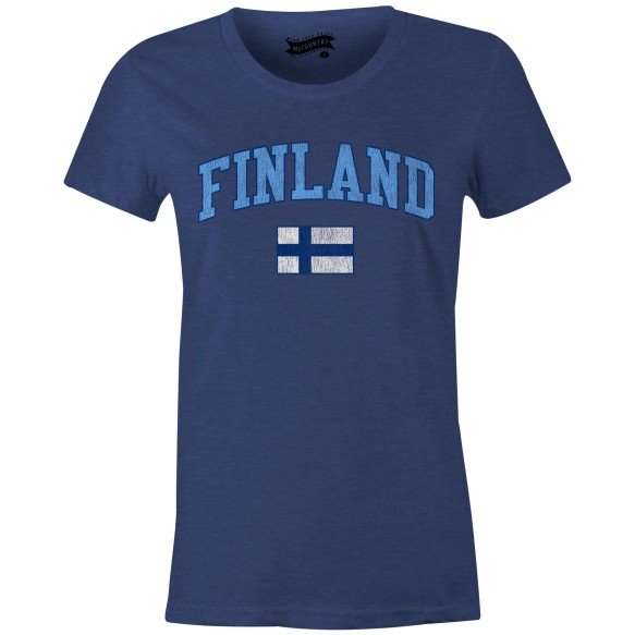 Finland MyCountry Women's Vintage Jersey T-Shirt (Navy Heather)