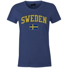 Sweden MyCountry Women's Vintage Jersey T-Shirt (Navy Heather)