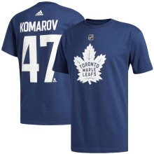 Toronto Maple Leafs Leo Komarov Adidas NHL Silver Player Name & Number T-Shirt
