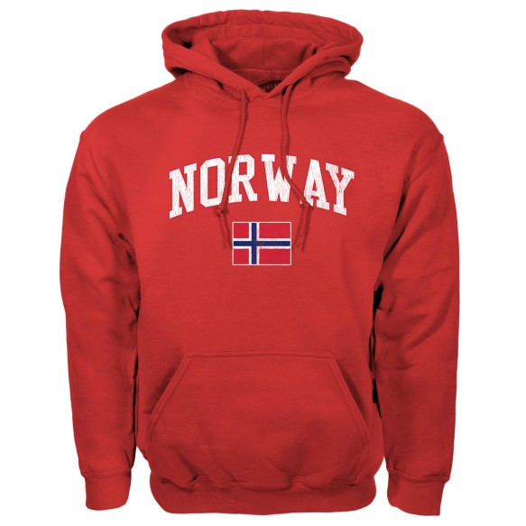 Norway MyCountry Vintage Pullover Hoodie (Red)