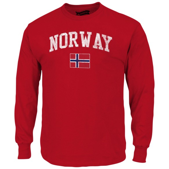 Norway MyCountry Vintage Jersey Long Sleeve T-Shirt (Red)
