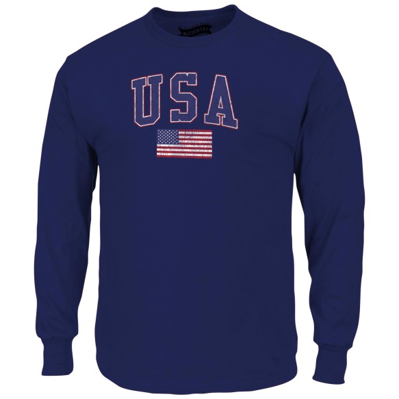 USA MyCountry Vintage Jersey Long Sleeve T-Shirt (Navy)