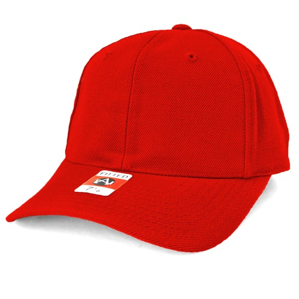 American Needle Fitted Blank Wool Blend Hat - Red