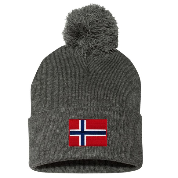 Norway MyCountry Cuff Pom Knit Hat - Charcoal