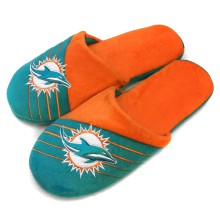 Miami Dolphins NFL Men's Big Logo Stripe Slipper