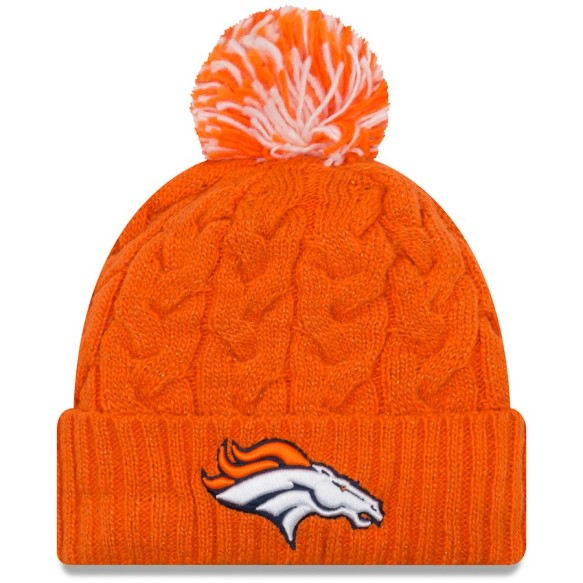 Denver Broncos Women's NFL Cozy Cable Knit Cuff Pom Hat