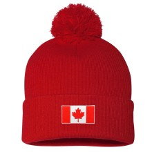 Canada MyCountry Cuff Pom Knit Hat - Red