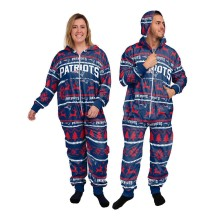 New England Patriots NFL Unisex Holiday Wordmark Onesie Hooded Pajamas