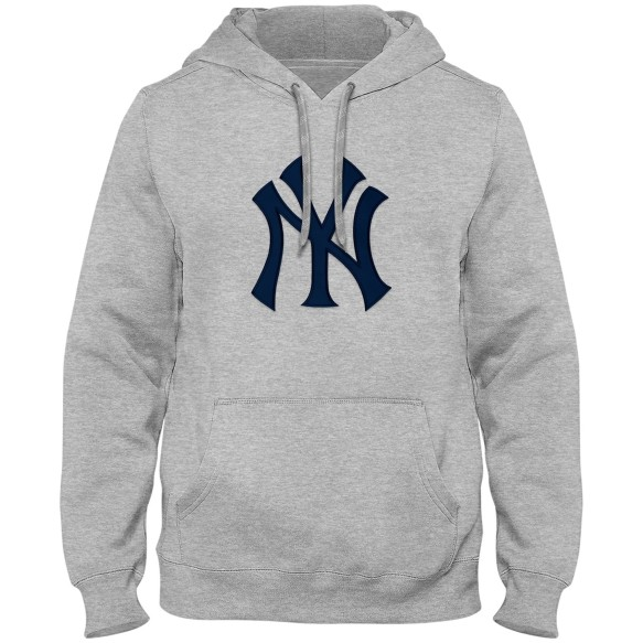 New York Yankees Express Twill Logo Hoodie Navy Logo - Athletic Gray