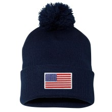 USA MyCountry Cuff Pom Knit Hat - Navy