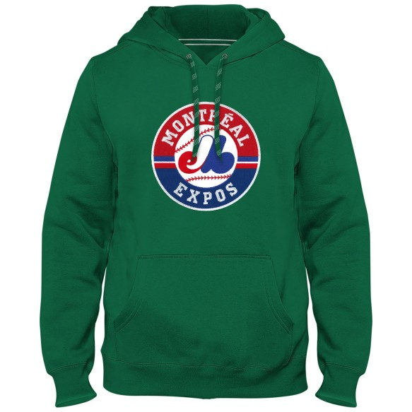 Montreal Expos Cooperstown MLB Express Twill Logo Hoodie - (1992-2004) Kelly Green