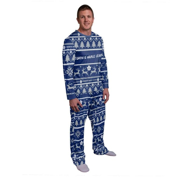 Toronto Maple Leafs NHL Men's Holiday Wordmark Ugly 2 Piece Pajama Set